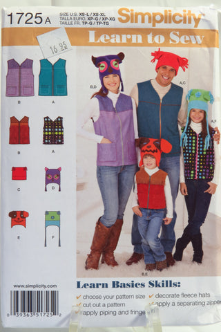 Simplicity 1725 Learn to Sew Miss/Men/Child Vests and Hats -  - Smiths Depot Sewing Pattern Superstore