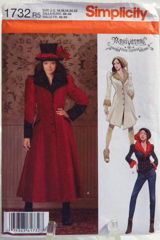 Simplicity 1732 Misses' Costume Coat and Jacket - R5 (14-16-18-20-22) - Smiths Depot Sewing Pattern Superstore