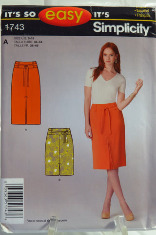 Simplicity 1743 It's So Easy Misses' Skirt - A (8-18) - Smiths Depot Sewing Pattern Superstore