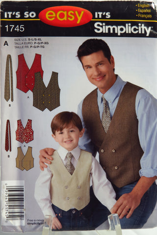 Simplicity 1745 It's So Easy Boy's and Men's Vest - A (S-L/S-XL) - Smiths Depot Sewing Pattern Superstore