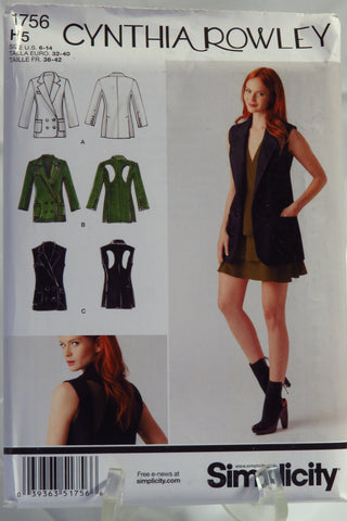 Simplicity 1756 Misses' Jacket With or Without Sleeves and Back Detail. - H5 (6-14) - Smiths Depot Sewing Pattern Superstore  - 1