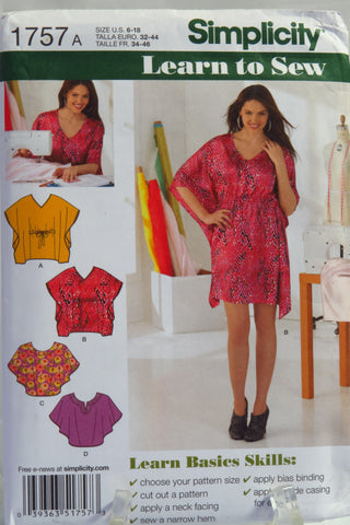 Simplicity 1757 Misses' Mini-Dress or Tunic and Top - A (6-18) - Smiths Depot Sewing Pattern Superstore