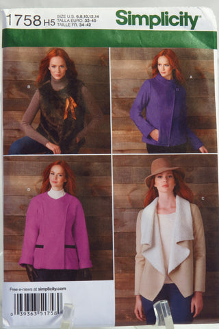 Simplicity 1758 Misses' Jackets and Vest - H5 (6-8-10-12-14) - Smiths Depot Sewing Pattern Superstore  - 1