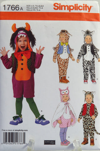 Simplicity 1766 Toddler's Costumes and Hats - A (1/2-1-2-3-4) - Smiths Depot Sewing Pattern Superstore