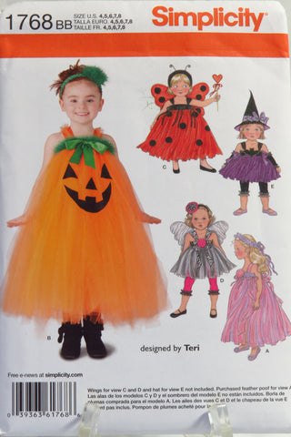 Simplicity 1768 Toddler and Child Costumes - BB (4-5-6-7-8) - Smiths Depot Sewing Pattern Superstore  - 1