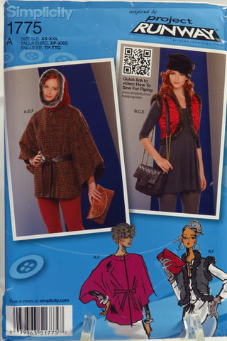 Simplicity 1775 Misses' Accessories Cape, Vest, Hat, Hood, Bag and Clutch - A (XS-XXL) - Smiths Depot Sewing Pattern Superstore