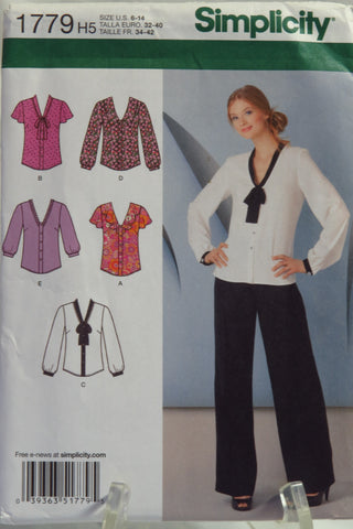 Simplicity 1779 Misses' Blouse with Collar and Sleeve Variations - H5 (6-8-10-12-14) - Smiths Depot Sewing Pattern Superstore  - 1