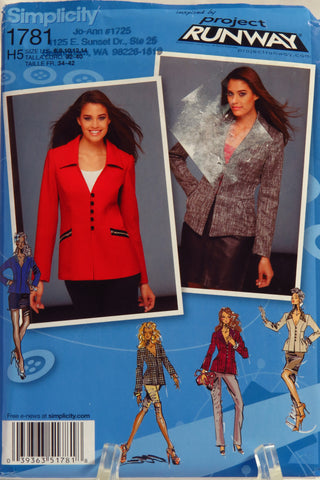 Simplicity 1781 Misses' Jackets in Two Lengths with Front Collar Variations - H5 (6-8-10-12-14) - Smiths Depot Sewing Pattern Superstore  - 2
