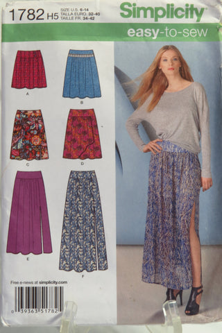 Simplicity 1782 Misses skirt in four lengths - H5 (6-14) - Smiths Depot Sewing Pattern Superstore