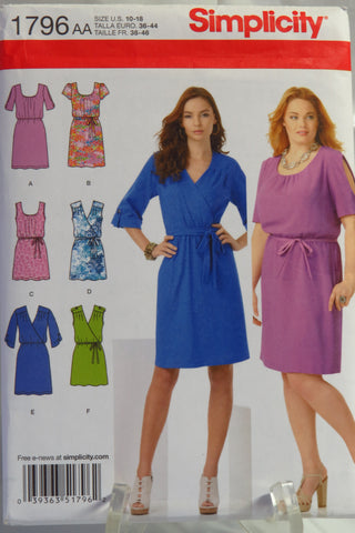 Simplicity 1796 Misses' & Plus Size pullover dresses in two lengths with bodice variations and belts - AA (10-18) - Smiths Depot Sewing Pattern Superstore  - 1