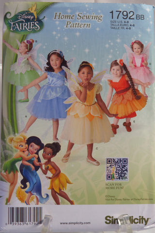 Simplicity 1792 Toddlers' Costume - BB (4-8) - Smiths Depot Sewing Pattern Superstore