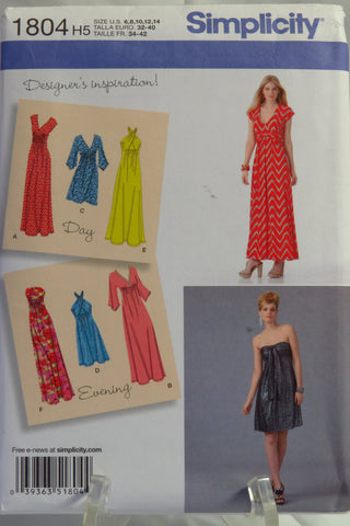 Simplicity 1804 Misses' Knit Dresses, Each in Two Lengths - H5 (6-8-10-12-14) - Smiths Depot Sewing Pattern Superstore  - 1