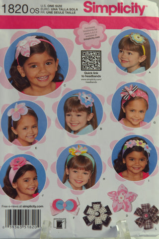 Simplicity 1820 Child's Hair Headband Accessories -  - Smiths Depot Sewing Pattern Superstore