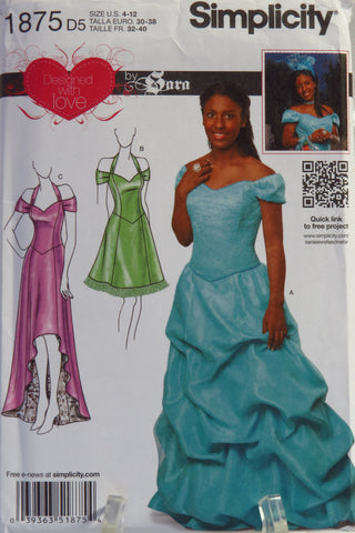 Simplicity 1875 Misses' Special Occasion Dress with Skirt Variations -  - Smiths Depot Sewing Pattern Superstore