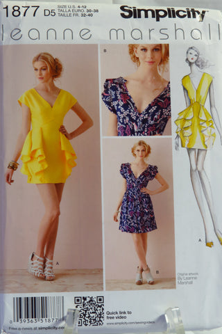 Simplicity 1877 Misses Dress In Two Lengths With Skirt Variations