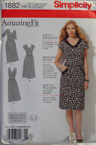 Simplicity 1882 Misses' Dress with Separate Pattern Pieces Included for A,B,C,D Cup Sizes and Slim, Average and Curvy Fit -  - Smiths Depot Sewing Pattern Superstore