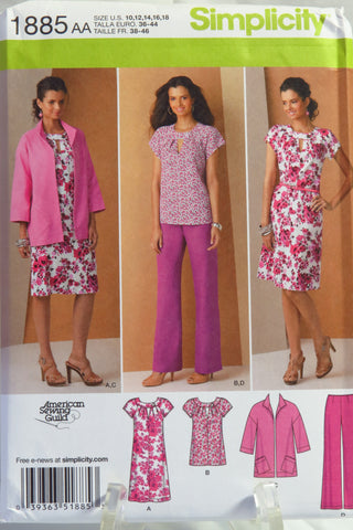 Simplicity 1885 Misses'/Women's Pullover Dress or Tunic, Jacket and Pants - AA (10-12-14-16-18) - Smiths Depot Sewing Pattern Superstore