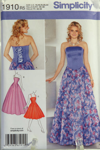 Simplicity 1910 Misses'/Miss Petite Special Occasion Dress in Two Lengths -  - Smiths Depot Sewing Pattern Superstore
