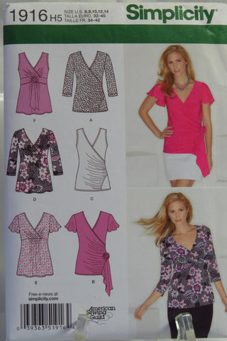 Simplicity 1916 Misses' Knit Tops - H5 (6-8-10-12-14) - Smiths Depot Sewing Pattern Superstore