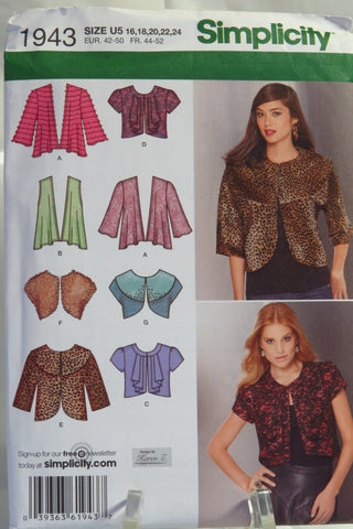 Simplicity 1943 Misses' Knit and Woven Jackets - U5 (16-18-20-22-24) - Smiths Depot Sewing Pattern Superstore