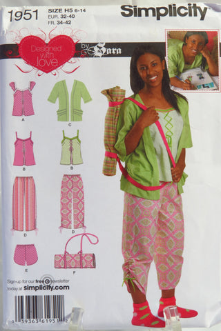 Simplicity 1951 Girls' and Misses' Top, Pants or Shorts, Kimono and Pillow Cover with Shoulder Strap -  - Smiths Depot Sewing Pattern Superstore