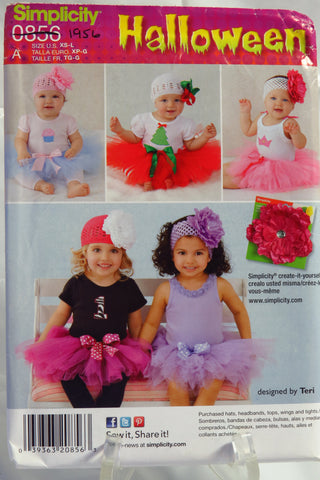 Simplicity 0856 Babies' Tutu and Appliques Costume -  - Smiths Depot Sewing Pattern Superstore