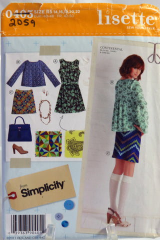 Simplicity 0405 Misses' Dress, Blouse and Skirt - R5 (14-16-18-20-22) - Smiths Depot Sewing Pattern Superstore