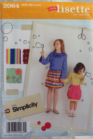Simplicity 2064 Child's and Girls' Skirt and Pullover Blouse - HH (3-4-5-6) - Smiths Depot Sewing Pattern Superstore  - 1