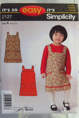 Simplicity 2127 Toddlers' Jumper - A (1/2-1-2-3) - Smiths Depot Sewing Pattern Superstore