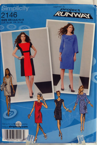Simplicity 2146 Misses' and Miss Petite Dress with Sleeve and Neckline Variations - D5 (4-12) - Smiths Depot Sewing Pattern Superstore