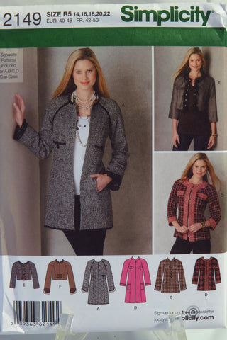 Simplicity 2149 Misses Jacket in Three Lengths. Separate pattern Pieces Included for A,B,C,D Cup Sizes -  - Smiths Depot Sewing Pattern Superstore