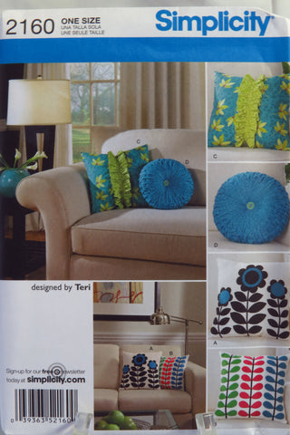 Simplicity 2160 Pillows -  - Smiths Depot Sewing Pattern Superstore
