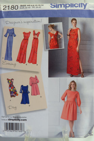 Simplicity 2180 Misses' Dress in Two Lengths with Back Variations - H5 (6-8-10-12-14) - Smiths Depot Sewing Pattern Superstore
