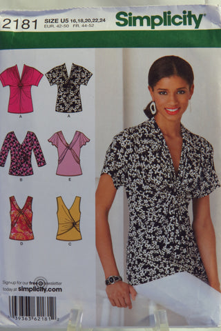 Simplicity 2181 Misses' Knit Tops - U5 (16-18-20-22-24) - Smiths Depot Sewing Pattern Superstore