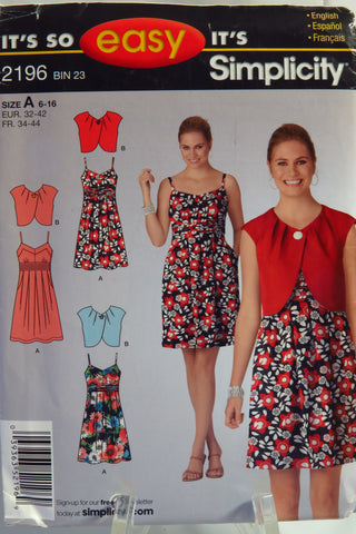 Simplicity 2196 Misses' Dress and Bolero. - A (6-16) - Smiths Depot Sewing Pattern Superstore