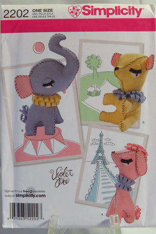 "Simplicity 2202 10"" Felt Decorative Animals -  - Smiths Depot Sewing Pattern Superstore"