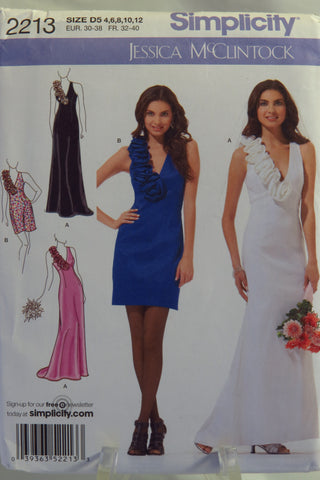 Simplicity 2213 Misses' and Miss Petite Evening Dress in Two Lengths - D5 (4-6-8-10-12) - Smiths Depot Sewing Pattern Superstore  - 1