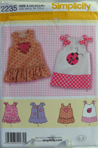 Simplicity 2235 Babies' Dress with Trim Variations. - A (XXS-XS-S-M-L) - Smiths Depot Sewing Pattern Superstore