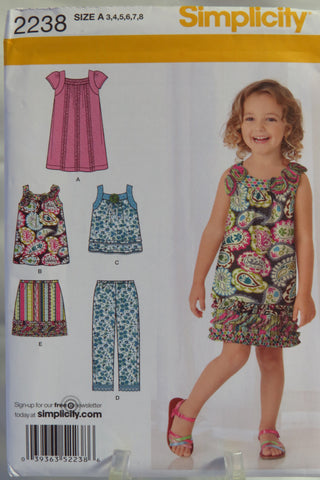 Simplicity 2238 Child's Skirt, Cropped Pants and Dress or Top in Two Lengths - A (3-4-5-6-7-8) - Smiths Depot Sewing Pattern Superstore