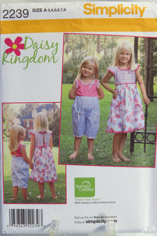 Simplicity 2239 Child's Dress and Romper - A (3-4-5-6-7-8) - Smiths Depot Sewing Pattern Superstore