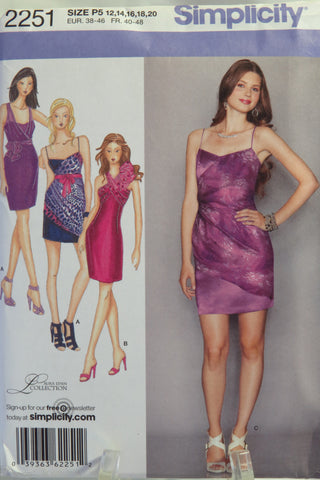 Simplicity 2251 Misses' Dress in Two Lengths with Drape Variations and Separate Wrap Top -  - Smiths Depot Sewing Pattern Superstore