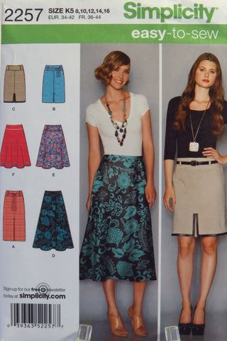 Simplicity 2257 Misses' Slim and Flared Skirts, Each in Two Lengths -  - Smiths Depot Sewing Pattern Superstore