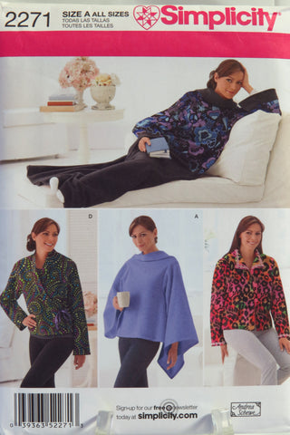 Simplicity 2271 Lounge Blanket in One Size and Misses' Bed Jacket -  - Smiths Depot Sewing Pattern Superstore