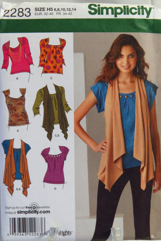 Simplicity 2283 Misses' Knit Tops and Vest -  - Smiths Depot Sewing Pattern Superstore