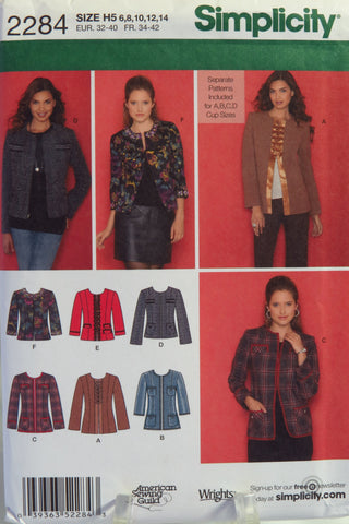 Simplicity 2284 Misses'/Miss Petite Lined Jacket in Two Lengths with Trim Variations.Separate Patterns Included For A,B,C,D Cup Sizes -  - Smiths Depot Sewing Pattern Superstore