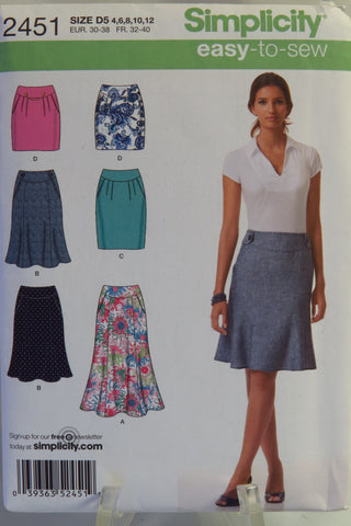 Simplicity 2451 Misses' Skirts, Each in Two Lengths -  - Smiths Depot Sewing Pattern Superstore