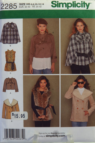Simplicity 2285 Misses' Cape, Jackets and Vest with Tie Belt - H5 (6-8-10-12-14) - Smiths Depot Sewing Pattern Superstore  - 2