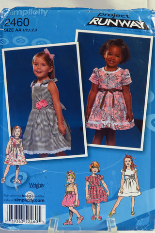 Simplicity 2460 Toddlers' and Child's Dress with Bodice and Trim Variations - AA (1/2-1-2-3) - Smiths Depot Sewing Pattern Superstore