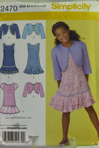 Simplicity 2470 Girls' Plus Dress and Bolero - AA (8-10-12-14-16) - Smiths Depot Sewing Pattern Superstore