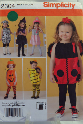 Simplicity 2304 Toddler's Costume - A (1/2-1-2-3-4) - Smiths Depot Sewing Pattern Superstore